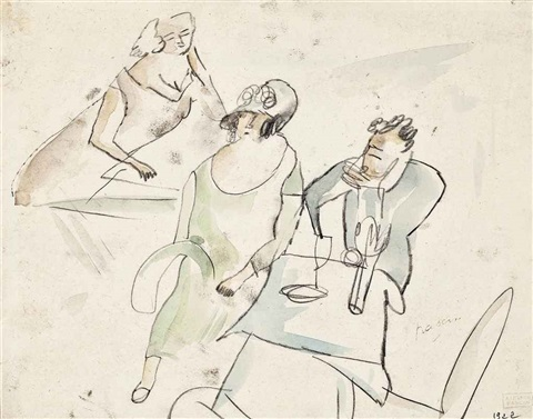 personnages à table by jules pascin
