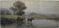 horses by a stream by frank f. english
