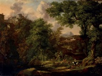 pastorale au pied du temple de la sybille de tivoli by abraham genoels