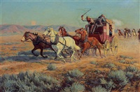stagecoach pursued by mounted indians by richard lorenz