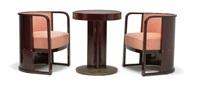 zwei fauteuils nr. 421 und tisch nr. 675 (set of 3) by josef hoffmann