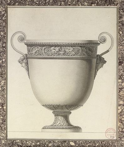 design for a wine cooler with a frieze of acanthus scrolls and putti driving chimerical serpent tailed rams by jean guillaume moitte