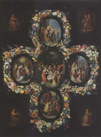 Scenes De La Vie De La Vierge Entourees De Guirlandes De Fleurs By