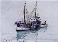 chalutier et barque by pierre brette
