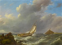 dutch barges at the mouth of the estuary at high tide on a blustery day by johannes hermanus koekkoek