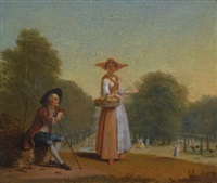 a fruitseller and a man resting, a park beyond by pieter angillis