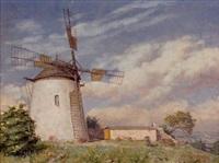 windmühle auf einer anhöhe by anton neugebauer