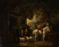 hunters resting at an inn by george morland