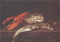 a still life of a lobster, a cod and other fish, all on a wooden ledge by jacobus vonck