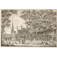 figures strolling in 'het schutters hoff,' domberg by jan bulthuis