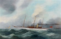 yacht anglais quittant le havre by édouard adam