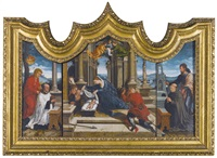 a triptych;: central panel: the adoration of the shepherds left wing: saint john the evangelist with a donor right wing: saint james the greater with a donor (3 works) by bernaert (barend) van orley