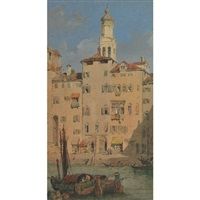 venetian canal (+ hollyhocks by sunlit steps; 2 works) by herbert parsons weaver