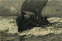 viking ship with fishermen sailing through the surf by carl ludvig thilson locher