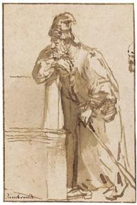 un homme barbu appuyé sur un muret by abraham van dyck