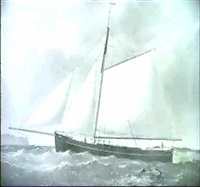 a portrait of the sloop rig cutter fanny in full sail by joseph semple