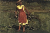 paysanne a bicyclette by leonid alexandrovitch fokin