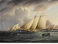 schooners from the new york yacht club racing in the narrows by james edward buttersworth
