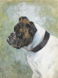 a portrait of a brindle and white bulldog by frances c. fairman