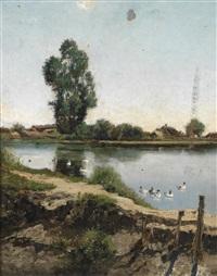 flusslandschaft mit enten by arthur (artur) tölgyessy