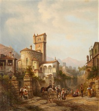 view of a small town with a romanic church by henry jackel