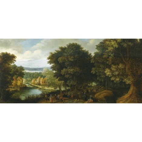 an extensive wooded river landscape with elegant figures conversing along a path to the right and other figures merry making in a village to the left by louis de caullery