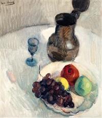 stilleven met druiventros en wijnglas by gerhard arnold christiaan smith