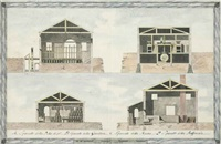 architectural renderings of storage buildings (4 works) by italian school-venetian (19)
