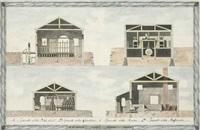 architectural renderings of storage buildings (4 works) by italian school-venetian (19)