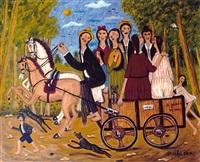 charrette aux chevaux by oscar arcila