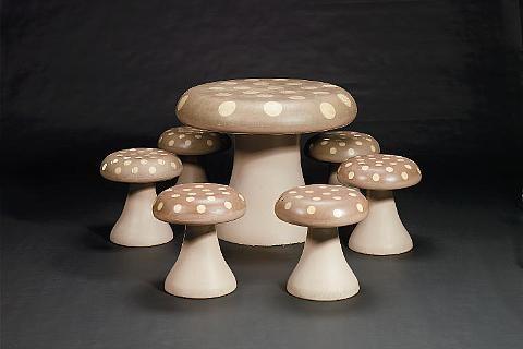 Toadstool table 6 chairs set of 7 by Biba on artnet