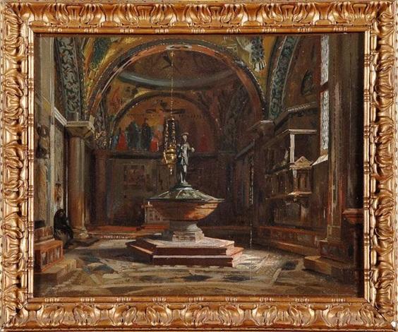 le baptistère de la basilique saint marc animé à venise chiesa dei putti by jean baptiste van moer