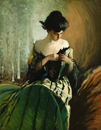 woman tending to her dress by sydney saunders
