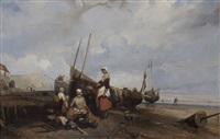 pêcheurs et leurs famille près du bateau by eugène modeste edmond le poitevin