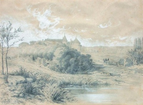 paysage au château by antoine chintreuil