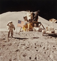 james irwin at the lunar module, apollo 15 by david scott