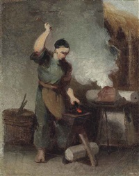 a chinese blacksmith at his forge by george chinnery