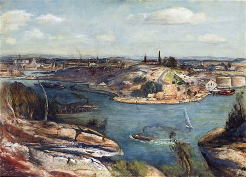 morning on the harbour hunters hill by lloyd frederic rees