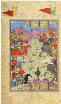 an illuminated frontispiece from a manuscript of firdausi's shahnameh and an illustrated leaf from a separate shahnameh: the battle of bahram and saveh shah by anonymous-persian-safavid (16)