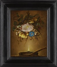 a bouquet of flowers suspended above a lamp by evert van aelst