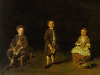 a portrait of three children in an interior by lorenzo gramiccia