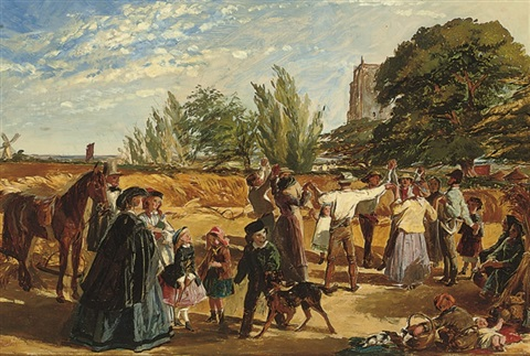 harvest scene in norfolk sketch by william maw egley