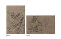 satyre et nymphe (recto); bataille de chevaux (verso ) by théodore géricault