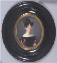 jeune fille en robe de velours noir à manches ballon à soufflets de satin rose, ses cheveux remontés en chignon à coques by jean baptiste ferdinand mulnier
