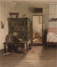 a cat by an oven in a sunlit interior by carl fleischmann