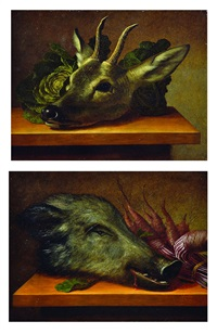 still life with boar head, still life with deer head (2 works) by johann adalbert angermayer