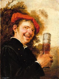 a man brandishing a beer glass by petrus staverenus