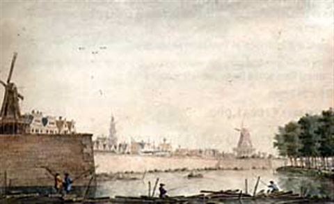 view of the raampoort amsterdam with figures fishing on a barrage by theodor dirk verryck