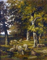 bergère et ses moutons en forêt de barbizon by charles ferdinand ceramano