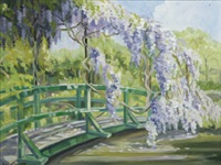 wisteria, monet's garden, giverny by pauline merry